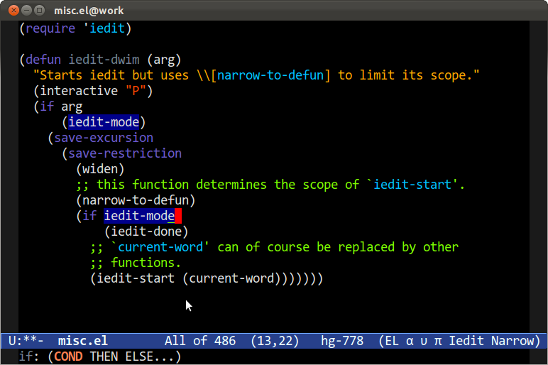 Emacs with IEdit active